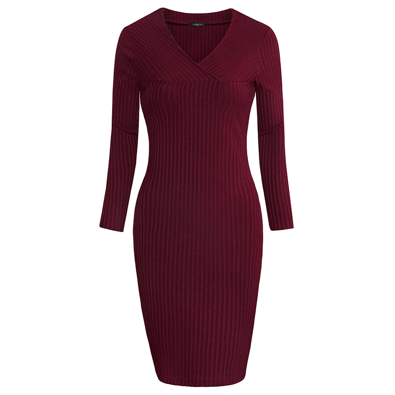 Messic Long Sleeve Mini Bodycon Sweater Knitted Dress Women 2018 Summer Casual Short Ribbed Robe Femme V Neck Ladies Dresses round neck ladies sweater dresses cotton knitted 2018 summer womens mini dresses long sleeve party dress robe longue femme q1