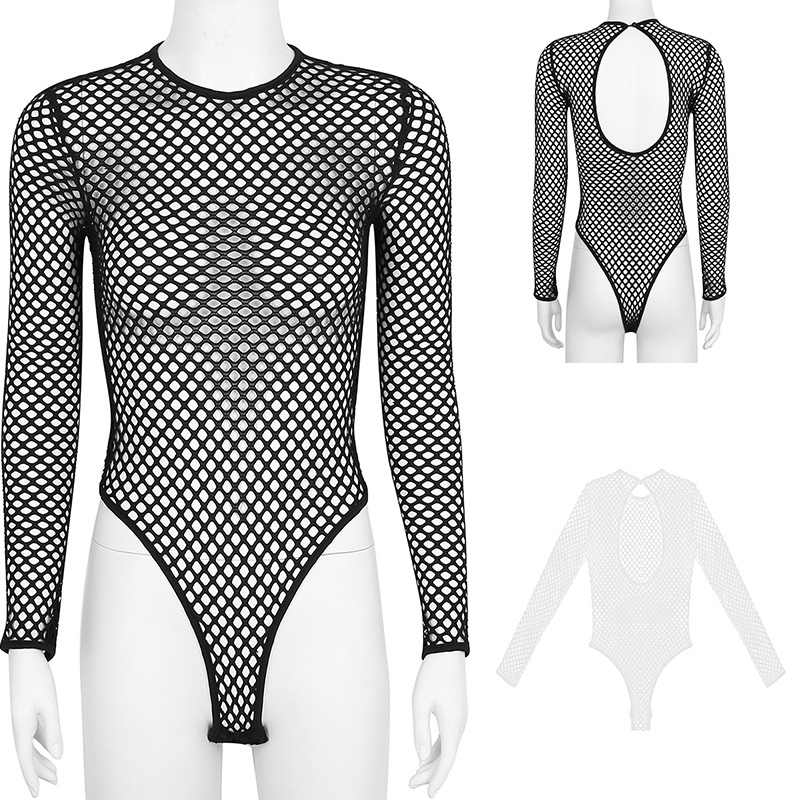 TiaoBug mujeres traje de baño Fishnet Bodysuit ropa interior transparente de manga larga de corte alto leotardo Sexy Monokini traje de baño cubierta