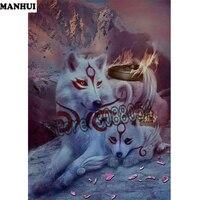 DIY Diamond Painting Animals Wolf Mosaic Diamond Painting Embroidered Diamond Full Square Glove Hand Knitwear ADW260