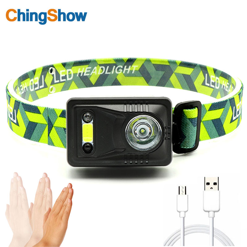 Infrared sensor LED double light smart headlamp night fishing outdoor night riding home ultralight COB rechargeable lithium batt
