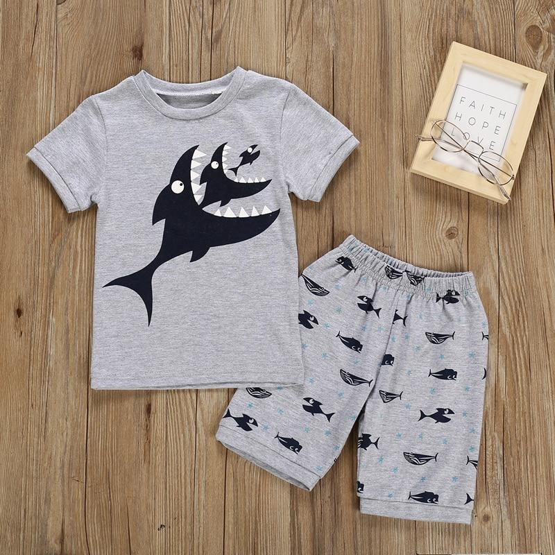 Conjunto de 2 Piezas de Ropa para beb/é con Estampado de tibur/ón de Manga Corta y Pantalones Cortos de algod/ón para Verano