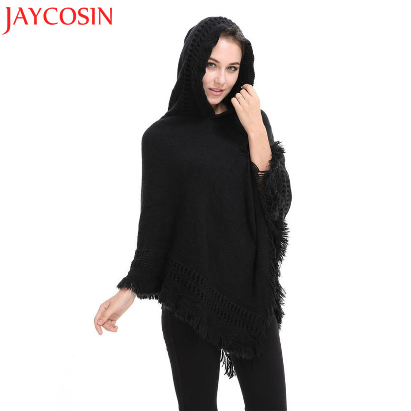 Women Hooded Wool Lady Hooded Cardigan Knit Batwing Tops Poncho Cape Coat Drop-shoulder Sweater Oct1330