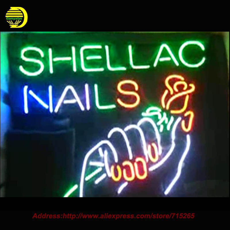 2017 Neon Sign Shellac Nails Rose Hand Neon <font><b>Light</b></font> Glass Arcade neon signs Cool Lamp Affiche advertise handcraft Bright VD19x15