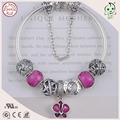 Very Popular Good Quality Red Silver Flower Charm Series 925 Sterling Solid Silver Bracelet