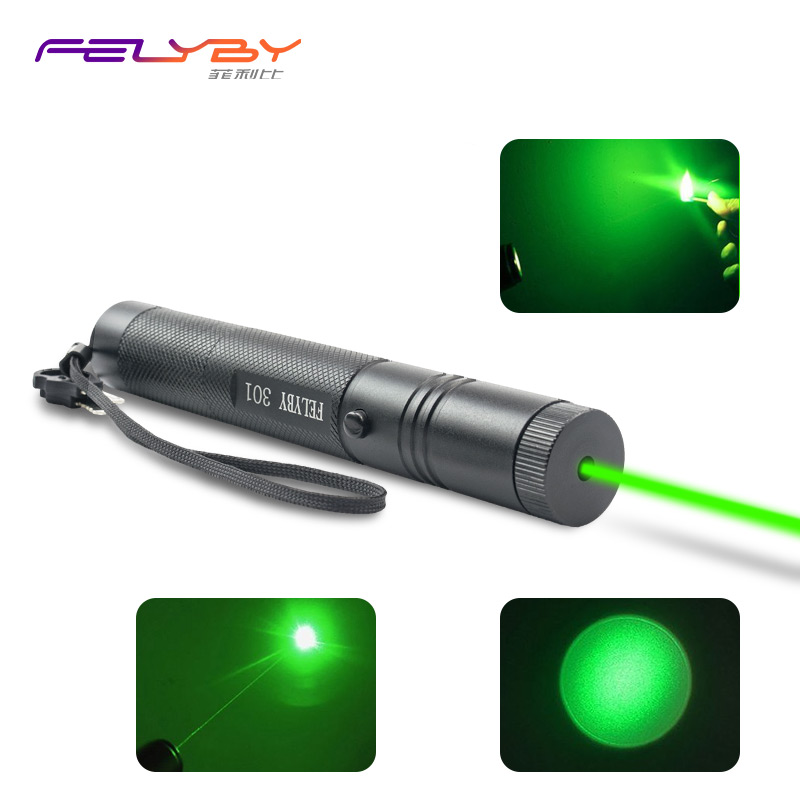 Free Shipping! FELYBY Professional 5mW 301 Low Power Green Laser Pen Sets with Adjustable Rechargeable 18650 Battery and Charger