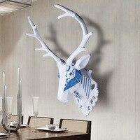 Montaż ścienny niebieskie i białe jelenie głowy wall art tablica trofeum hunt rzeźby-faux taxidermy nowoczesne wiszące wystrój domu ornamnent