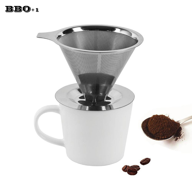 Metal Coffee Filters V Shape Filter Cup Strainer Tea Leaf Cone Drip Maker