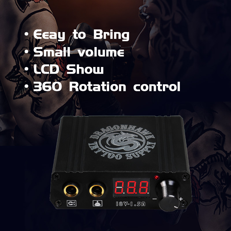 Top Quality Mini Tatu Peti Kuasa Dragonhawk LCD Untuk Mesin Tatu - Seni tatu dan badan - Foto 3