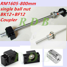 antibacklash SFU1605 800 мм RM1605 0,8 м длиной с BK/BF12 концевые поддержки и муфта 6,35*10 CNC частей