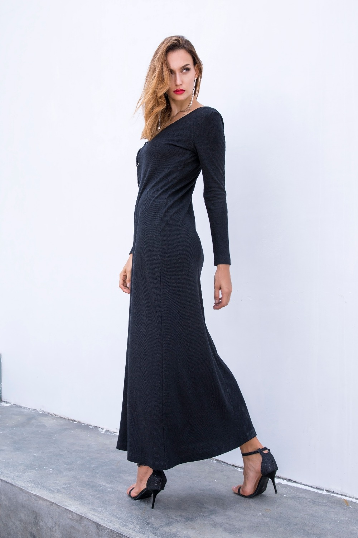 69fcf82c5de ... ME Winter Long Maxi Dress Casual Knitted Bandage Long Sleeve Loose  Women Sweater Dress Vintage Black ...