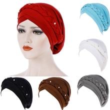 2019 new hat African style headdress Milk Silk cap Muslim headscarf hair accessories fashion twist with diamond