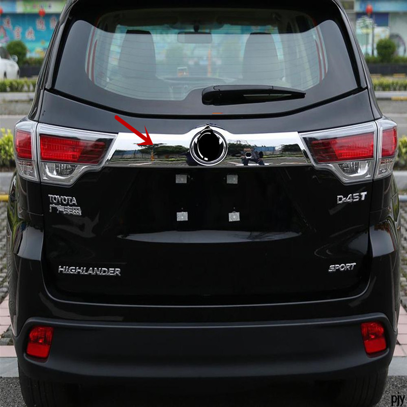 High Quality Rear Door Trunk Lid Stainless steel decoration Cover TRIM 1pcs for 2015 Toyota Highlander accessories