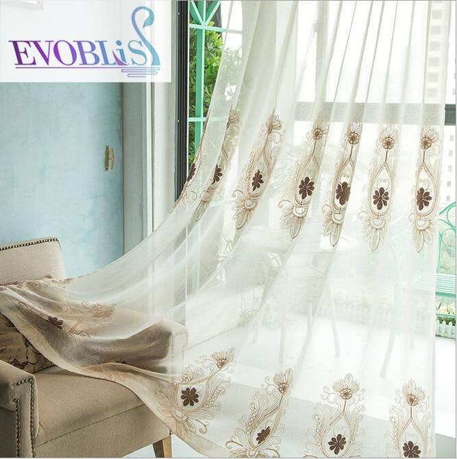 Bomull & linne broderade voile gardiner för vardagsrum lyxiga - Hemtextil