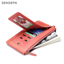 Sendefn Zipper Coin Purse Genuine Leather Women Wallets Long Lady Purse Wallet Female Card Holder Phone  Pocket Wallet Women