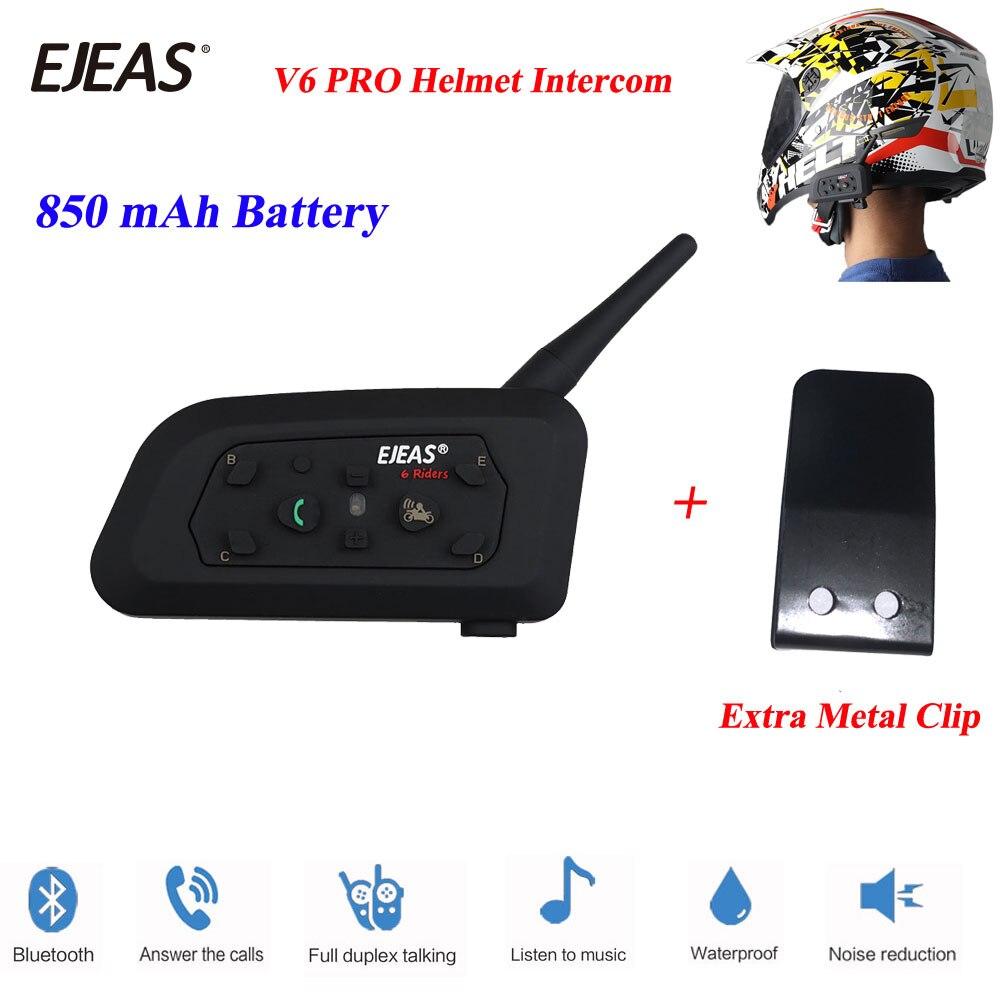 EJEAS 2018 1 Pcs V6 Pro 1200M Multi BT Interphone Wireless Motorcycle Bluetooth Casco Walkie-talkie Motorcycle Helmet Intercom