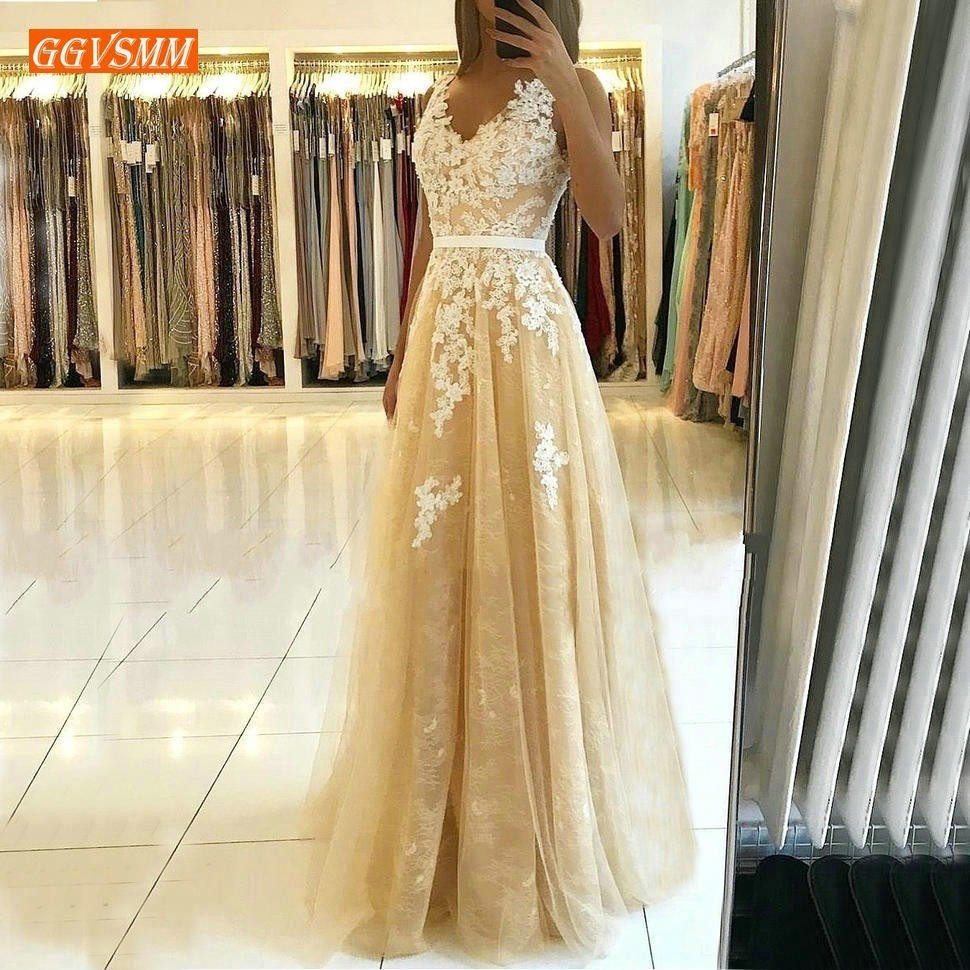 Elegant V Neck Gold Prom Dresses 2019 Prom Gowns Long Banquet Tulle A Line Lace Appliques Customized Women Party Formal Dress