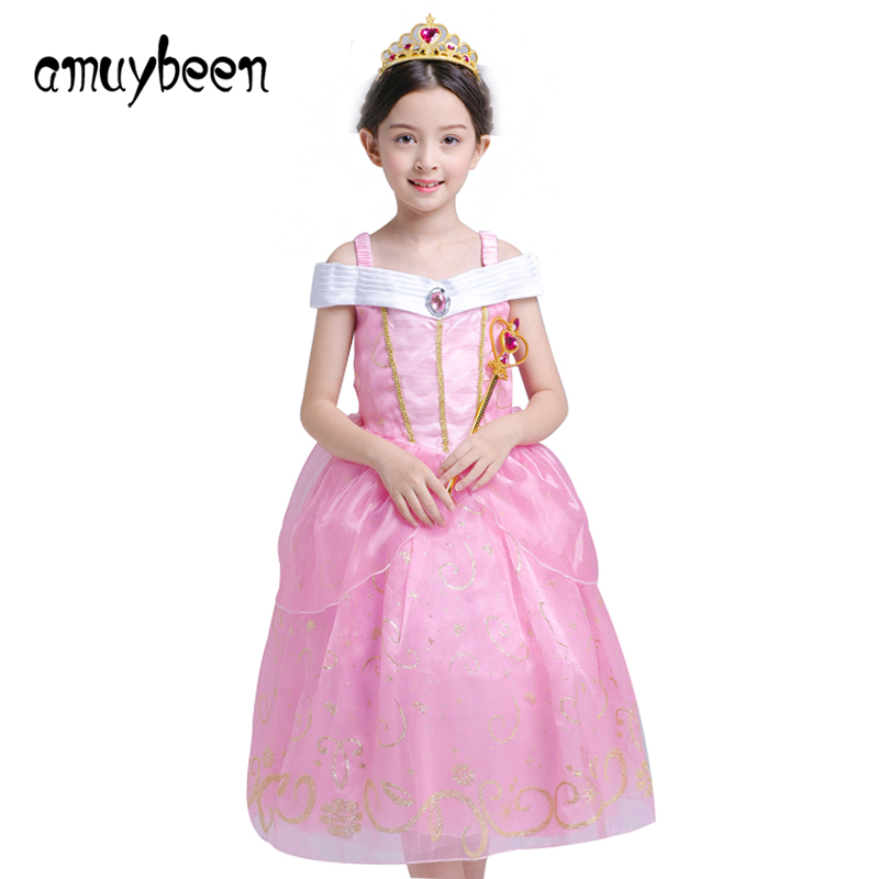 Amuybeen Girls Clothing 2019 New Christmas Dress Pink Princess Wedding Dresses Outfits Party Elsa Ball Gown Childrens Clothes 5