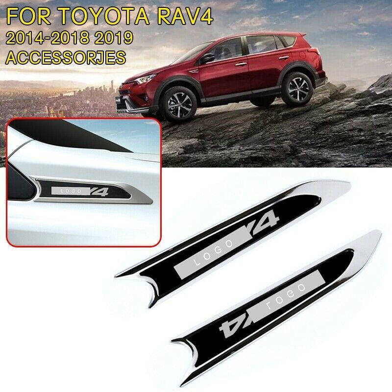 Pcmos Chromium Styling Black Blue Car 펜더 사이드 바디 데칼 몰딩 Toyota Rav4 2014 2018 2019 자동차 외장 부품 신규