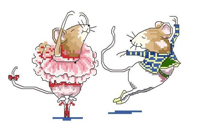 US $11.0 |FREIES Verschiffen Hochwertigen weihnachtskarte kreuzstich ballerina maus mäuse tier, tanzen maus in Paket aus Heim und Garten bei