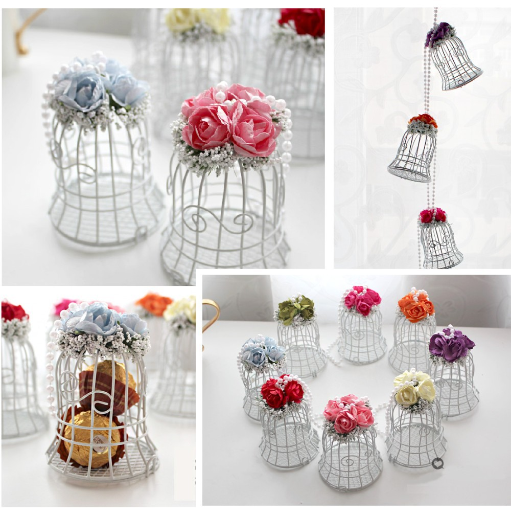 Luxe White Bird Cage Wedding Gift Box Favors Metal Birdcage Flower ...