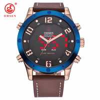 OHSEN Luxury Leather Big Dial Dual Time Military Mens Digital Watches Quartz Men 50mm Waterproof Dual Time Watch Relogio Masculi