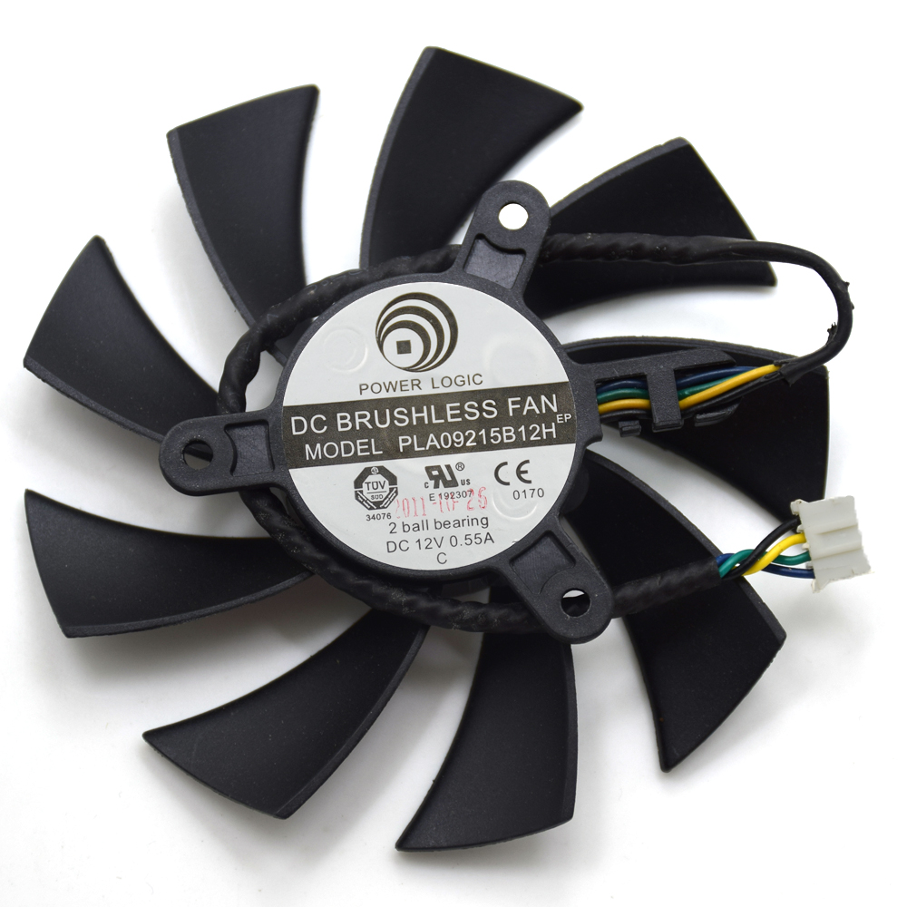 Power Logic PLA09215B12H DC 12V 0.55A 4 Wire 4Pin Cooler Fan For MSI N560 570 580GTX HD6870 Graphics Card Cooling Fan computador cooling fan replacement for msi twin frozr ii r7770 hd 7770 n460 n560 gtx graphics video card fans pld08010s12hh