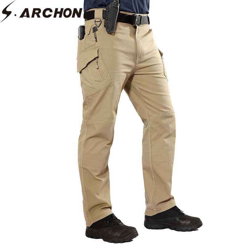 S.ARCHON IX9 Tactical Cargo Pants Men Military Army Combat SWAT Cotton Pants Causal Breathable  Elastic Multi-Pockets Trouser