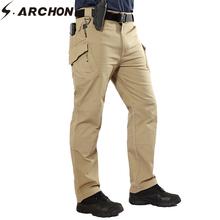 S ARCHON IX9 taktyczne spodnie w stylu Cargo mężczyźni wojskowe armii walki SWAT spodnie bawełniane przyczynowe oddychające elastyczne multi-kieszenie spodni tanie tanio Pełnej długości 2 5-3 2 Na co dzień spandex COTTON REGULAR Suknem Midweight Cargo pants Zipper fly Mieszkanie IX9 Tactical Cargo Pants Men