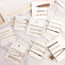 4PCS Metal Hairgrip Photographing Hair accessories set Geometric Irregular Gold Color pearl Clip fashion Girls Accessories