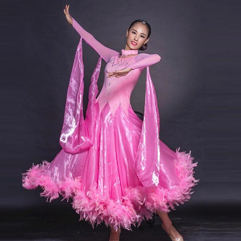 Concours de danse de salon robes valse robe de bal robes de danse standard femmes robe longue festival vêtements plume rose