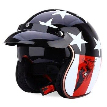 JIEKAI JK-510 Universal Motorcycle Helmet Retro Open Face Cold Protection Safe Riding Scooter Headpiece with Visor
