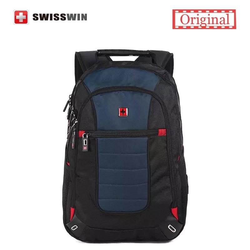 Swisswin Brand Men's Backpack Large Swiss Male Backpack 15.6 laptop Backpack with Tablet Pocket Mochila Escolar School Rucksack swisswin black business backpack sw9218 male swiss 15 6 computer swissgear wenger bag 23l mochila