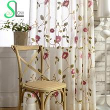 Rose Red,Light Blue flower Cotton Yarn Curtain Embroidered Curtains For Living Room Cortinas Tulle Cortina  Kitchen Chinese