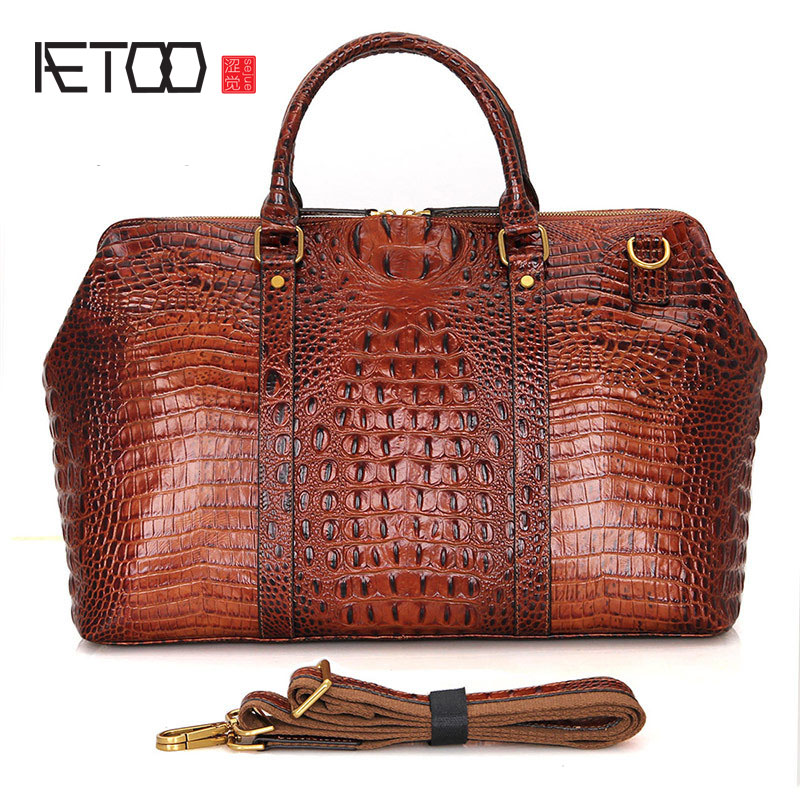 AETOO Europe and the United States retro first layer leather travel bag men's large capacity leather hand baggage bag europe and the united states style first layer of leather lychee handbag fashion retro large capacity solid business travel bus