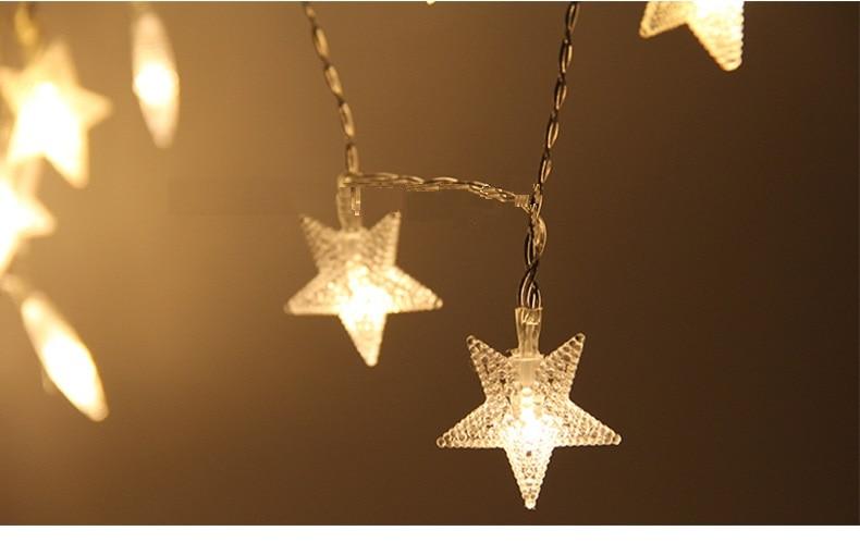 Led Light Fantasy Pentagram Light Strings Starry Christmas Decoration Lights Battery Box Holiday Beautiful Star Light Strings