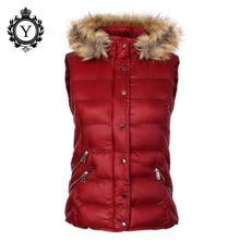 Las mujeres de invierno chaleco sin mangas de la chaqueta abrigo mujer  Chaleco de piel con capucha brillante chaleco cálido 2019. 06270e2d1cd4