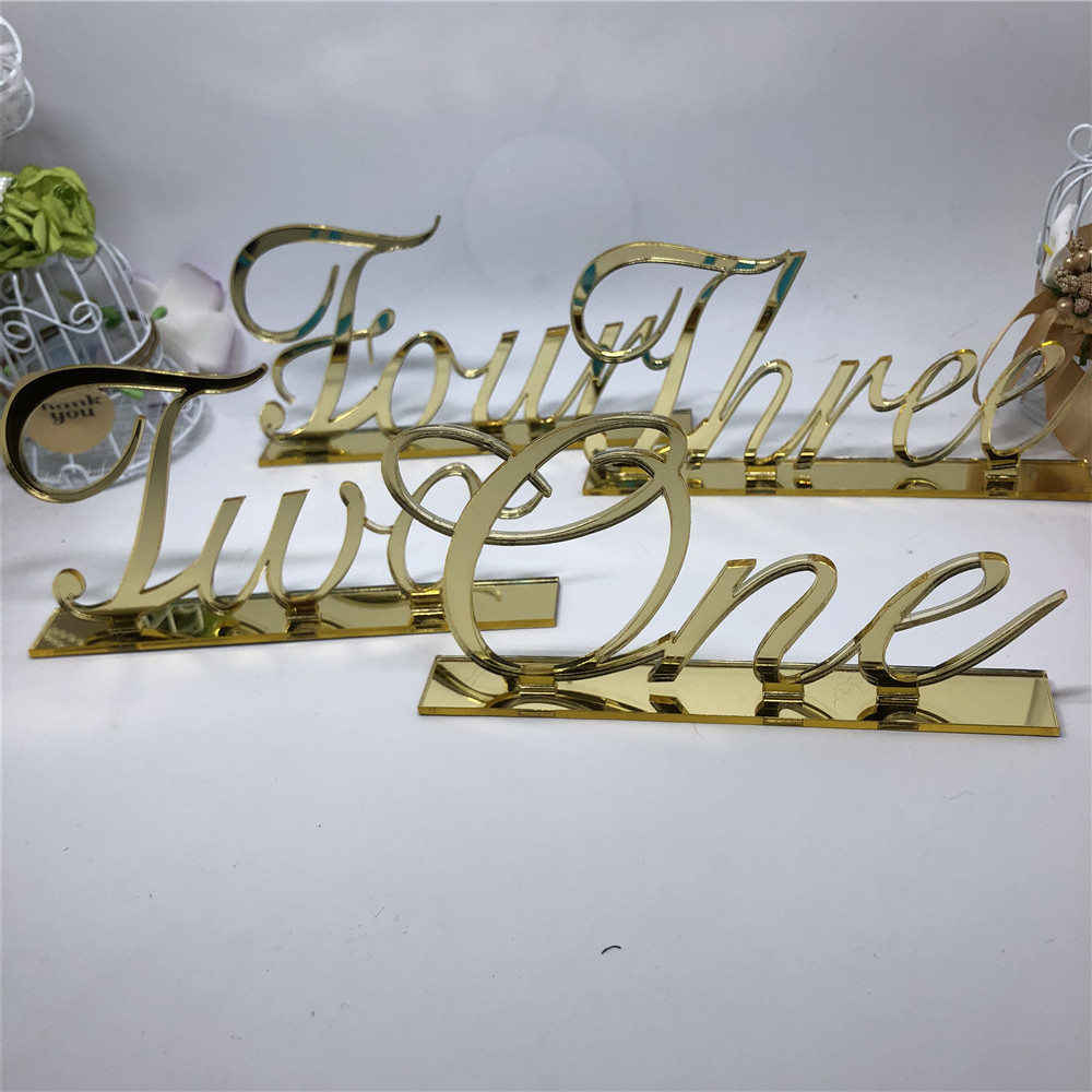 Personalized Wedding Table Numbers Acrylic Mirror Gold Table Number Stand Sign Custom Wedding Decoration Event Party Supplies