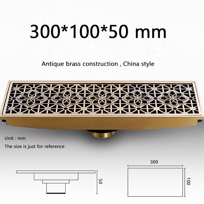 Modern 30 cm lengthen  Bathroom Antique Brass grate Floor Drain Square Shape Waste Drainer shower strainer drain euro square antique brass art carved flower bathroom sanitary floor drain waste grate