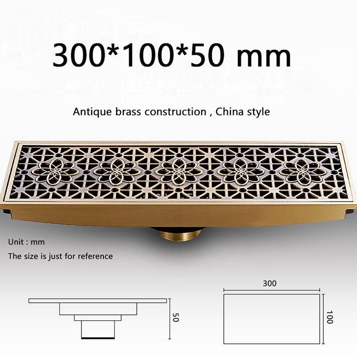 Modern 30 cm lengthen Bathroom Antique Brass grate Floor Drain Square Shape Waste Drainer shower strainer drain