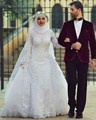 Arábia Saudita Arab Hijab Muçulmano Modesto Vestidos de Noiva Manga Comprida Lace Beads Sobre Saia Sereia Vestidos de Noiva Com Mangas