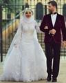 Arab Hijab Saudi Arabia Modest  Muslim Wedding Dresses Long Sleeve Lace Beads Over Skirt Mermaid Bridal Gowns With Sleeves