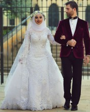 Arab Hijab Saudi Arabia Modest Muslim Wedding Dresses Long Sleeve Lace Beads Over Skirt Mermaid Bridal Gowns With Sleeves