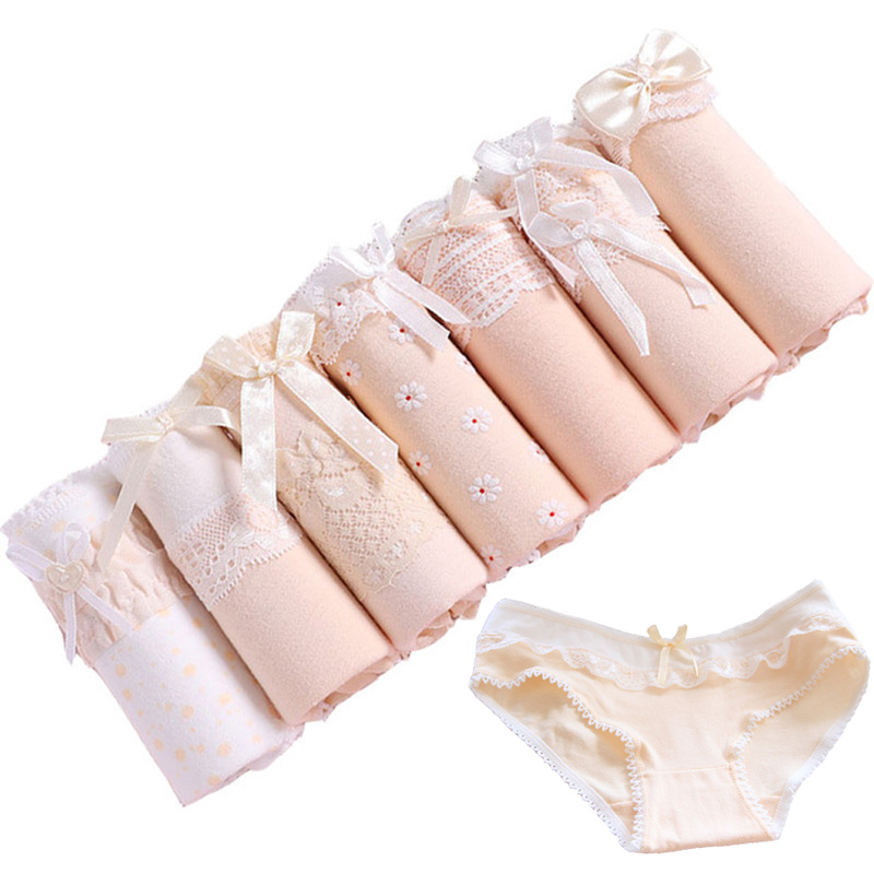 7Pcs/lot Underwear Women's   Panties   Sexy Cotton Briefs Seamless Underpant Solid Calcinhas Girl   Panty   Ladies Lace   Panties   Lingerie