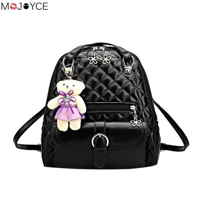 ecbc7ed407af Весна Обувь для девочек кожа Рюкзаки Мода Досуг школьная сумка с медведем  кулон хорошее качество дорожные