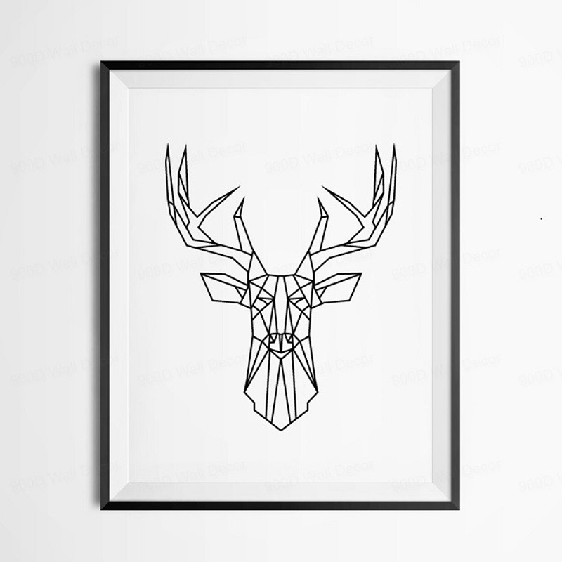Geometric Deer Head Canvas Painting Nordic Black And White