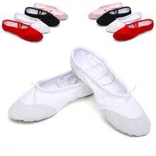 Согласно СМ Купить, Холст Плоские Тапочки Белый Розовый Белый черный Балетные Туфли Для Девочек Детей Женщина Yoga Gym Free доставка