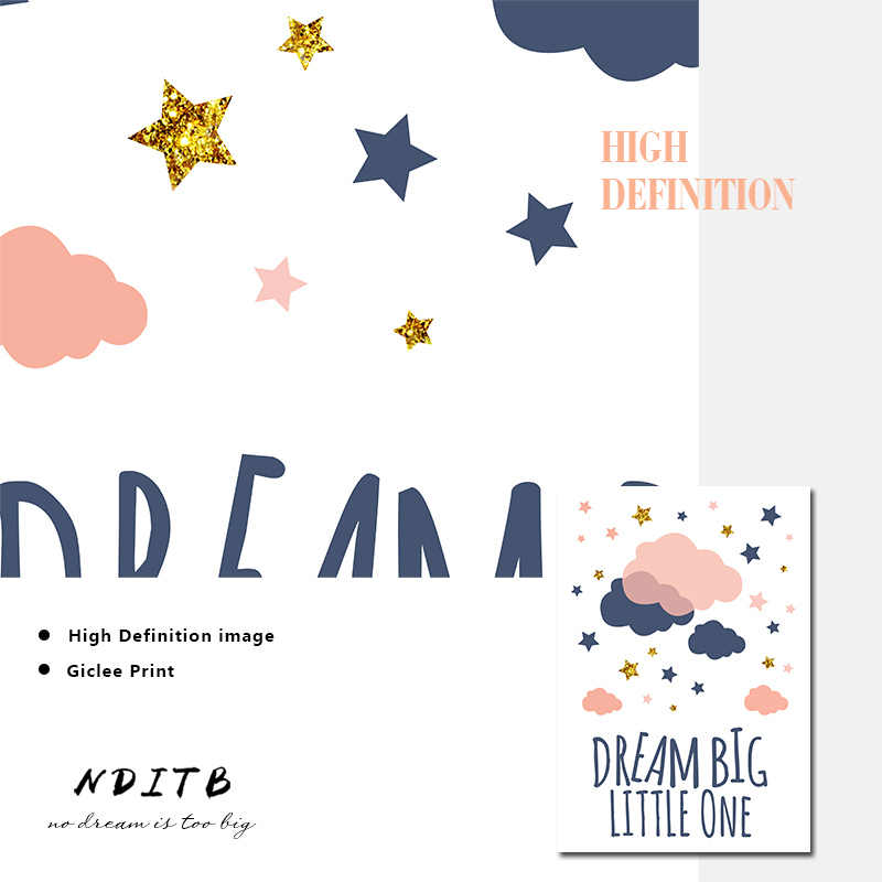NDITB, луна, звезды, холст, плакаты для детской комнаты, настенное искусство, принт с героями мультфильмов, живопись, скандинавские детские украшения, картины, декор детской комнаты