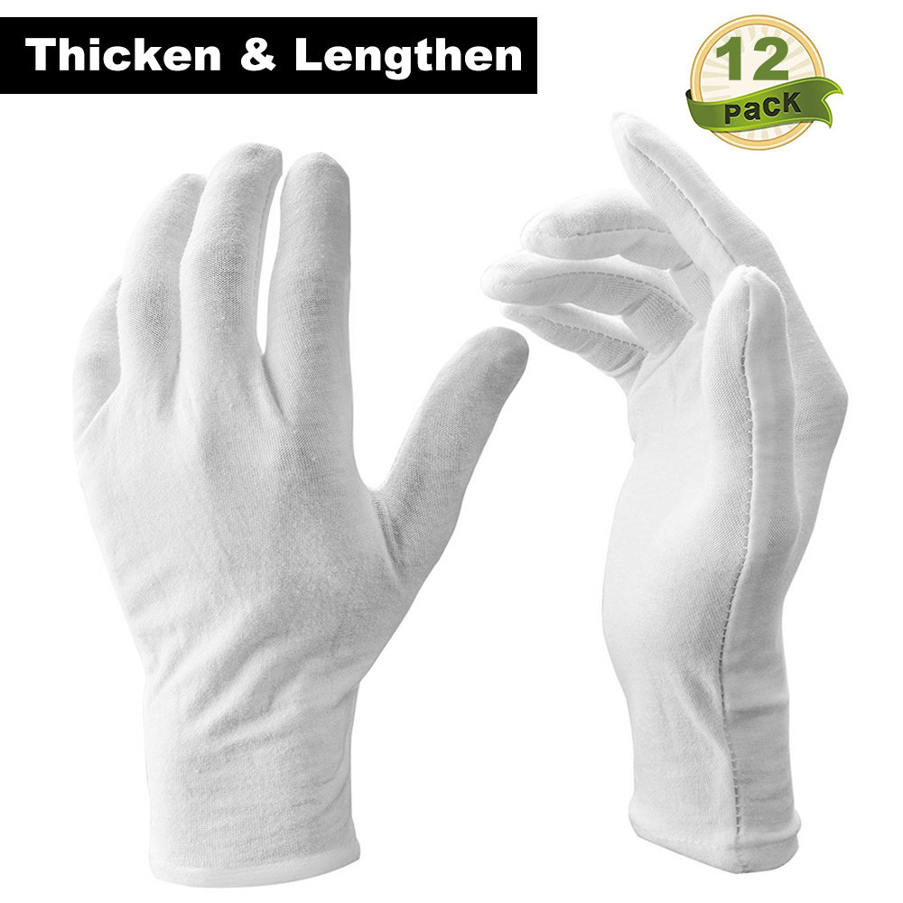 12 Pairs/Lot White Soft Cotton Ceremonial Gloves Stretchable Lining Glove for Serving/Waiters/Drivers