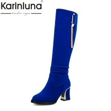KARINLUNA Large Size 34-48 Knee High Boots Women Shoes Woman Fashion High Heels Winter Party Boots Black Blue Red Bottine