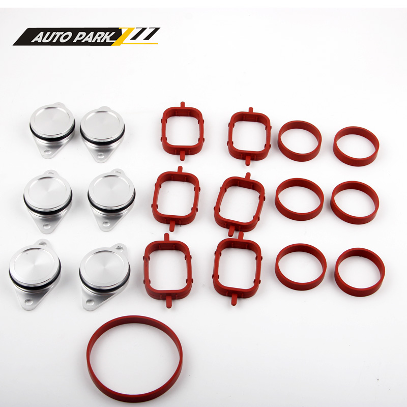 Set of 6 x 33mm OEM design by aluminum For BMW Swirl Flap Blanking Plates seal with intake manifold gasket 6 cylinder